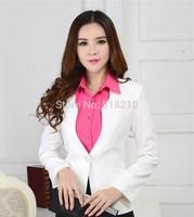New High Quality Elegant White Uniforms 2014 Fall Winter Formal Women's Blazer Coat Jacket Tops Outwear For Office Work Wear