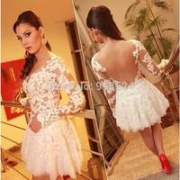 Free Shipping 2015 Cute White Lace Jewel Neckline Appliqued Long Sleeve Short Prom Dresses Vestidos De Fiesta Cortos