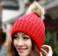 High quality Free shipping 2014 New Women Winter hats Woolen knitted Lady warm Beanies Faux Fur women caps 13 colors for Girl.