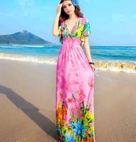 Bohemia one-piece dress gentlewomen full dress beach dress short-sleeve dress national dress