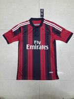 2015 A+++ AC Milan Home Adult Embroidery Red And Black Stripes Soccer Jersey/ Uniform Sports Clothing Player Version Kits