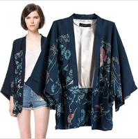 2014 New  Ladies Kimono Vintage Non-button Phoenix Pattern loose Cardigan Women Coat Outwear Casual Slim Brand Designer Tops