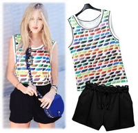Free Shipping 2014 summer women's fashion new rainbow pattern sleeveless vest + elastic wide leg shorts set clothing set F235