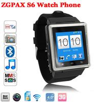 Newest ZGPAX S6 watch phone MTK6577 Dual Core 512MB RAM 4GB ROM  Unlocked Multi-functional Bluetooth Smart Watch Android Phone