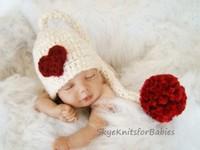 Cute Newborn Baby Crochet Beanies Long Tail Winter Hat Baby Girl Boy Knit Handmade Beanie Skullies Photography Props One Pcs