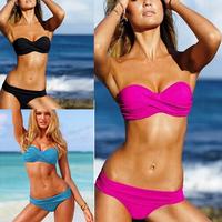New 2014 Hot Sale Sexy Women Swimwear Padded Fringe Bandeau Top Strapless Lady Bikini Beachwear BK004