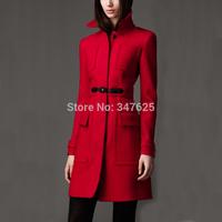 new 2014 women's long winter woollen coat female slim red wool women cashmere coats jackets mandarin collar long sleeve coat