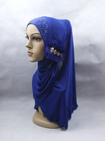 new floral Muslim headscarf ,soft ice silk,  Rhinestone hat cap, Muslim hijab,silk scarves,more colors free shipping,5pcs/lot