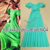 2014 summer new European and American big retro lantern sleeve  big swing dress   B072572502