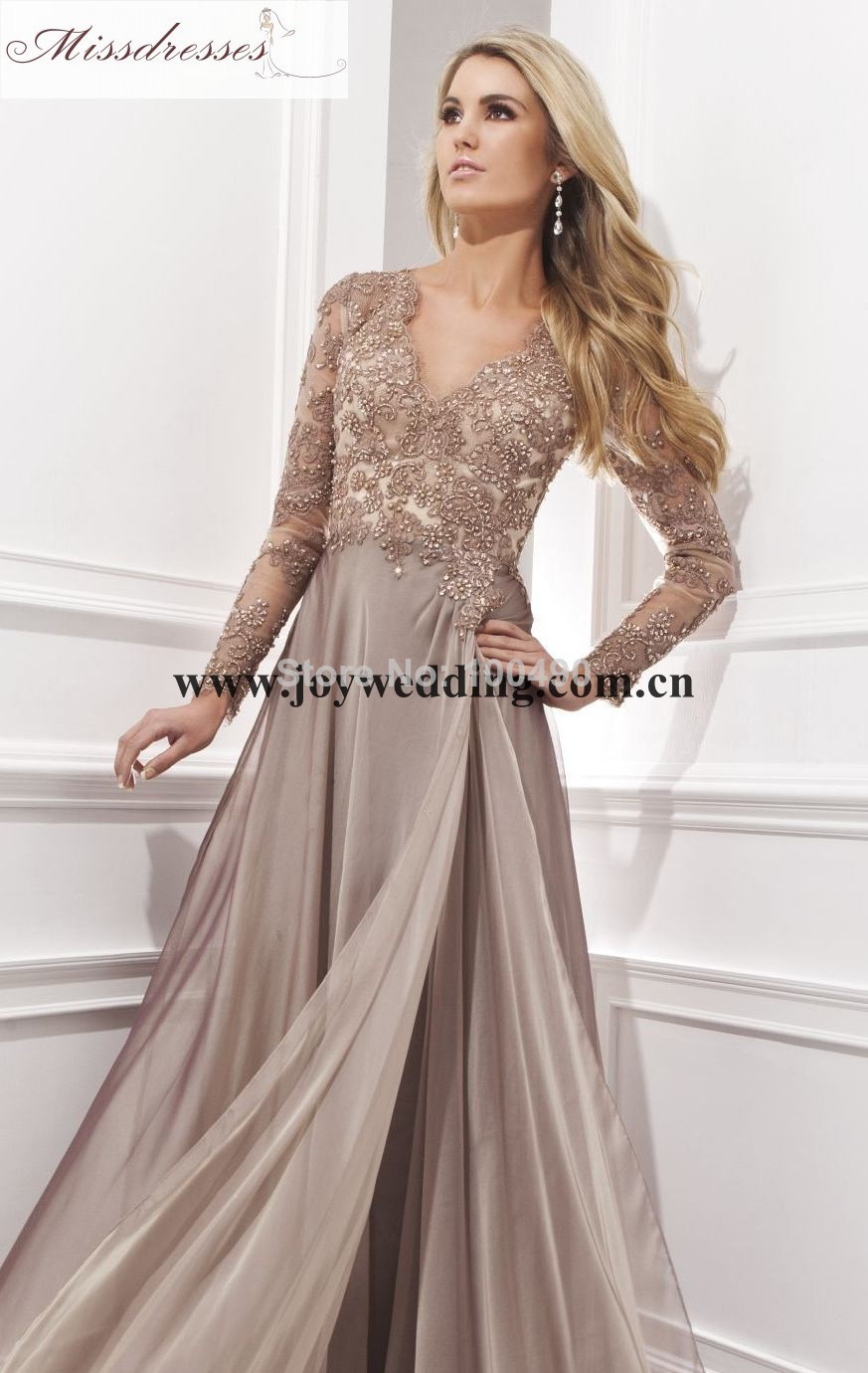 Evening dresses with full sleeves maxi