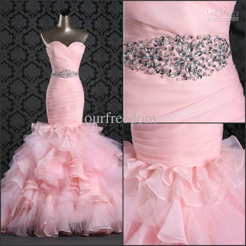 Atacado - nova rosa elegante querida Ruffles Beads sereia Falbala chão Organza vestidos de casamento vestidos de noiva Real Ima(China (Mainland))