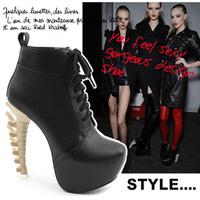 Newest women ankle boots pumps hith heel Bone square toe bandage allotypy ladys dress shoes heel 14cm flock black pu size 35-40