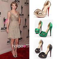 Newest women pumps high heel sandal fashion red bottom comfortable platform open toe  ladys dress shoes heel 13cm size 35-40