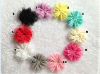 Wholesale flowers hair accessories baby girls 3.7 inch lace mesh bows for hair without flat back  for headbands corsage dress