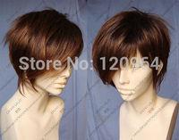 New Short Light Brown Fashion Man Wig  Natural Kanekalon no lace hair wigs Free deliver