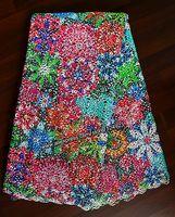 5 Yards very soft Multicolor 100% Cotton Guipure Lace African cupion lace fabric 9022 blue aqua orange wine