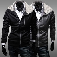 2014 New Brand Men's Hoodies Sweatshirts Fur collar Zipper Cotton Sportswear Winter Mens Hooded Casual Jackets Men Clothing