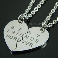 Broken Heart 2 Parts Pendant Necklace 316L Stainless Steel Best Friends Forever Logo Chain Pendant 72403