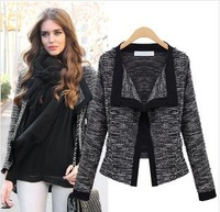 2014 New  Spring Winter Women  Fashion Black White Long Sleeve Lace Knitting Jacket Outerwear Plus Size S- XL 9897