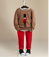 2014 new autumn 70% wool 30 cashmere pullover sweater boy B family child soldiers sweater pattern