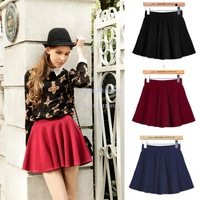 Skirts Women 2014 Sexy Mini Elastic High Waist Ruffled Design Casual Skirts Black/ Red/ Dark Blue b7 SV006463