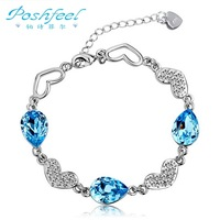 Luxurious PF brand 925 sterling silver with 3 layers of platinum plated Austria Element blue crystal female bracelets bangle