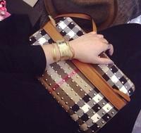 Women Messenger Bags Leather + Canvas Classic Plaid Casuel Bag Women Handbags Totes Crossbody bag Shoulder Bags Day Clutch