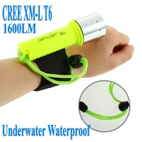Free Shipping Underwater Diving 1600LM CREE XM-L T6 LED Flashlight Torch Waterproof Lamp 1pce