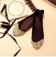 Free shipping,2014 Women girls new fashion rhinestone beading pointed toe low heels shoes flats, 3 colors,Euro 40