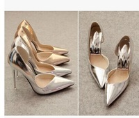Free shipping,2014 Women new sexy pointed toe thin high heels shoes,lady pumps wedding party,gold,silver