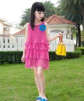 Free shipping 2014 baby girl's dress Quality summer dresses children clothing Layered dress Kids dress 2014