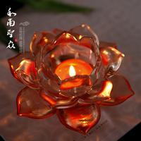 Buddhism supplies butter lamp base imitation crystal lotus mousse orange woah , !
