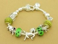 Hot!Free Shipping wholesale 925 Sterling Silver jewelry charms bracelet silver bracelet. crystal beads bracelet  Pp055
