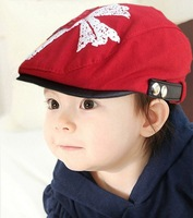 PROMOTION Fashion Clover Printing Leather Side Children Berets Boy Girl Berets Free Shipping