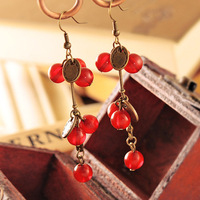 Min Order $15 Free Shipping Fashion Jewelery ,Red Cherry Drop Earring For Women Vintage Sweet Red Cherry Drop Earring on Female