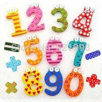 2014 HOT 6cm x 5cm 15 Number Figure Educational Kids Children Wooden Refrigerator fridge magnet stick & (1pack for 15pcs)