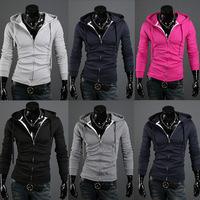 2014 New Fashion Brand Men's Clothing,Double Layer Zipper-Up Men's Hoodies Jackets Male,Sports Casual Men's Fleece Hoodies Coats