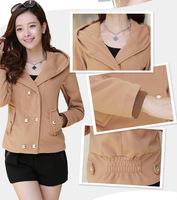 Short Women Slim Fashion Woolen Trip Breasted  Pocket With Hat Winter Fur Coat Trench Outwear Black Brown Winter Jacket Coat