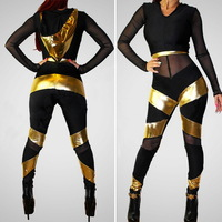 New 2014 women spring and summer Sexy net yarn splicing empty hat piece pants casual jumpsuit