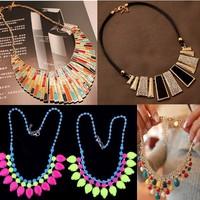 Free shipping the new fashion magazine Semi-precious stones inlaid short chain Detachable collar sweater chain