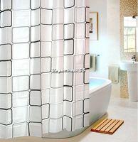 Waterproof Bathroom Shower Bath Curtain Square Grid Metal Buckle 809