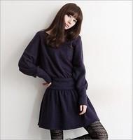 2014 new Korean waist was thin wool knit long-sleeved dress casual dress