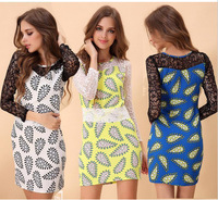2014 New Summer  Women Lace Dress Cashew Print Hollow Out Female Pencile Dress Casual Bodycon Dress 3 color Plus Size S-2XL