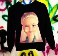Free shipping 2014 NEW ARRIVALS Street fashion Barbie Winter Fleece sweater pattern Hoodies