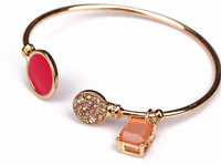Fashion bracelet for wommen 2014 new cuff bracelets bangles pink stone crystals (140723)