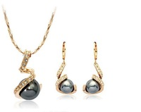 Italina Rigant Elegant 18K Rose Gold plated Spiral Jewelry Set With Austrian Crystal Stellux Austrian Crystal #RG20385