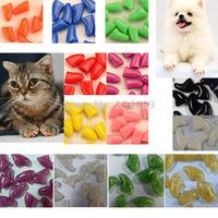 40 pcs / lot Pet Dog Cat Finger Grooming Floor Protect Pet Dog Cat Nail Caps Claw Control Soft Paw Caps XS, X, M, L
