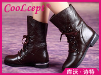 CooLcept Free shipping ankle half short natural real genuine leather boots women snow boot high heel shoes R4845 EUR size 34-40