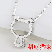 Free shipping fashion magazine the new 925 sterling silver pussy cat pendant necklace female couples sweater chain