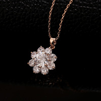 Retail and Wholesale Fashion Jewelry 18k Gold  Plated Clear Crystal Flower Dangle Pendant Necklace N29 Free Shipping Worldwide